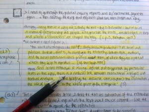 Photo of research notes.
