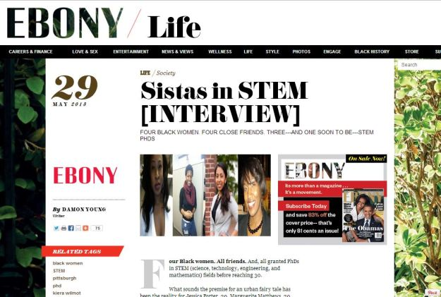 Sistas in STEM article | Ebony Magazine