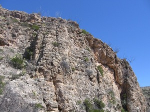 Blue cloudless sky in background; tall stony cliff-face in the foreground
