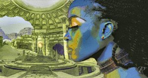 Digital illustration: temple in background, black woman in foreground