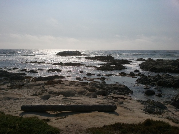Photo of the Pacific shore in the early evening.