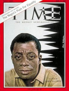 Time Magazine cover -- a life-like painting of James Baldwin looking directly at the reader