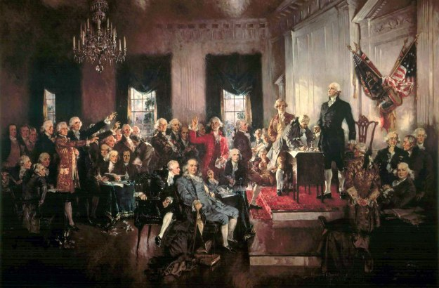 "Howard Chandler Christy's ""Scene at Signing of the Constitution of the United States"" (1940)"