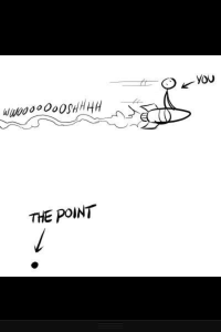 "A cartoon person on a rocket wooshes across the top of the image. At the bottom, is a period labeled ""The Point."""