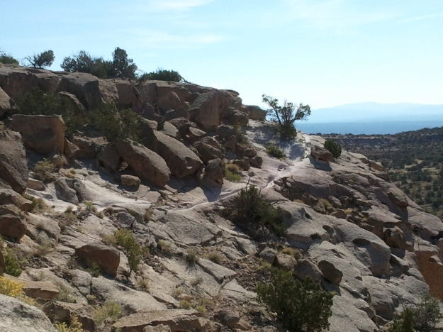 Photo: In the foreground, a rocky desert landscape with sparse brush; in the background, a pale blue-white morning sky.